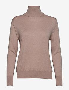 Silk Mix Roller neck  Sweater - POWDER