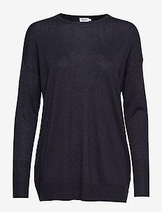 Silky Fine Knit Sweater - NAVY