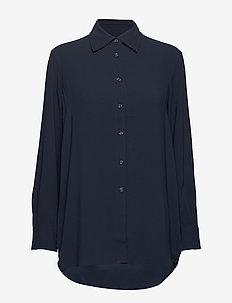 Long Crepe Shirt - NAVY