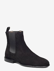 Fallon Low Chelsea Boot - BLACK SUED