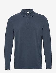 M. Luke Lycra Polo Shirt - langærmede - blue grey
