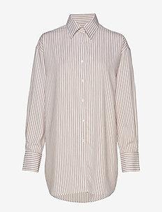 Nina Striped Shirt - koszule z długimi rękawami - ivory/powd