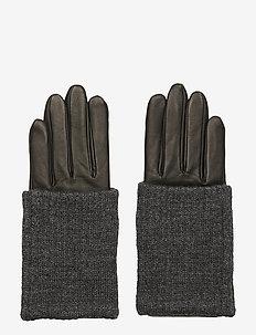 Short Wool Rib Gloves - BLACK