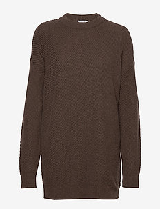 Rebecca Rib Sweater - trøjer - dark oak