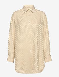 Nina Silk Shirt - langærmede skjorter - ecru