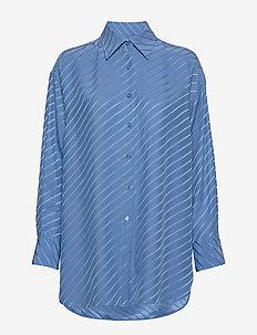 Nina Silk Shirt - langærmede skjorter - sapphire b