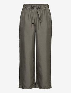 Nea Trouser - bukser med brede ben - green grey