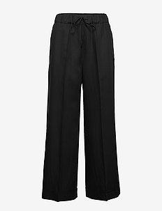 Aria Trouser - bukser med brede ben - black