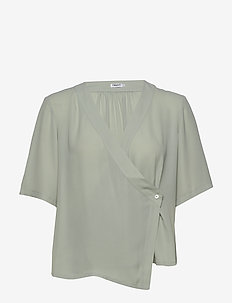 Reagan Blouse - short-sleeved blouses - green fog