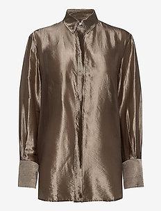 Akira Metallic Shirt - langermede bluser - grey taupe