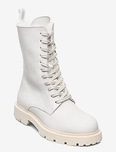 Krisha Laced Boot - flat ankle boots - ivory