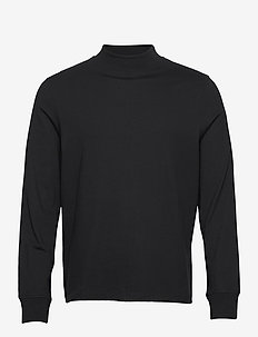 M. Marlon Mock-Neck Longsleeve - basic t-shirts - black