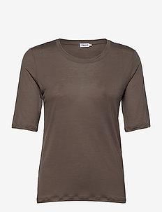 Elena Tencel Tee - t-shirts - dark taupe