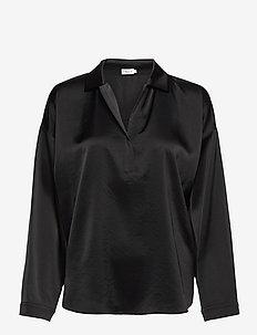 Lovisa Satin Shirt - langärmlige blusen - black