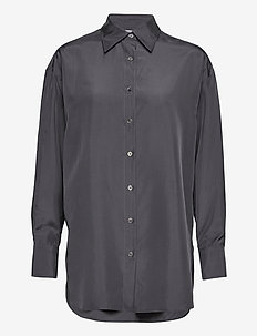 Mandy Silk Shirt - långärmade skjortor - metal
