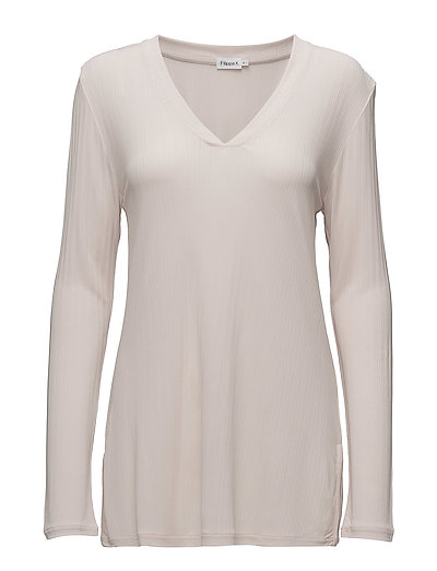 Deep V Jersey Blouse - PEBBLE