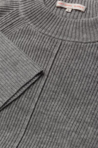 Filippa K Open Back Rib Sweater- Strickmode Grey Mel.
