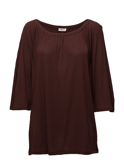 Gathered Scoop Neck Blouse - FIG