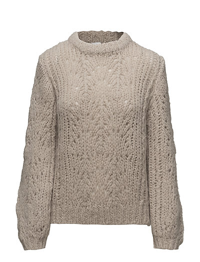 Pointelle R-neck Sweater - PORCELAIN