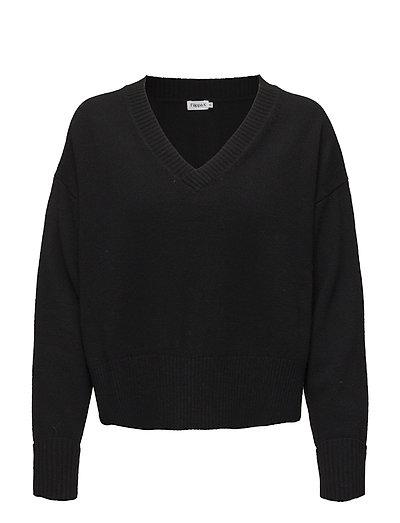 Cropped V-neck Sweater - BLACK