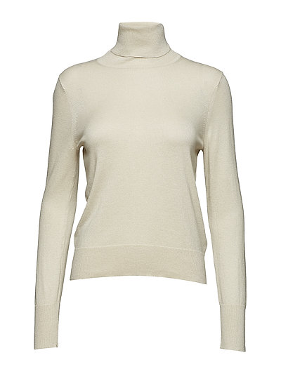Lurex Roller Neck Sweater - CREAM LURE