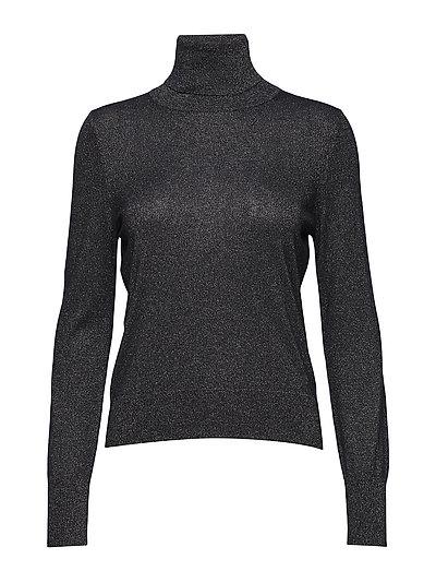 Lurex Roller Neck Sweater - NAVY GOLD