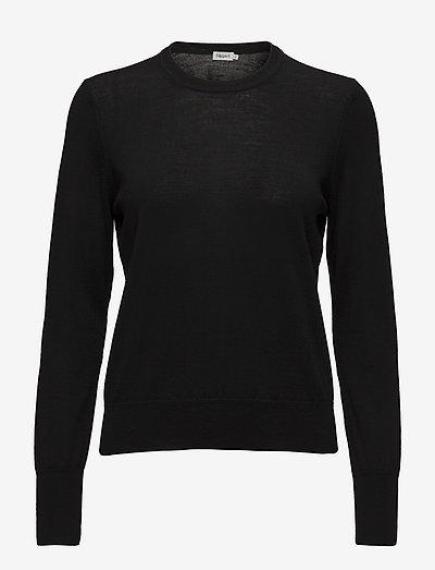Merino R-neck Sweater - sweaters - black