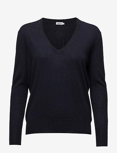 Merino V-neck Sweater - sweaters - navy