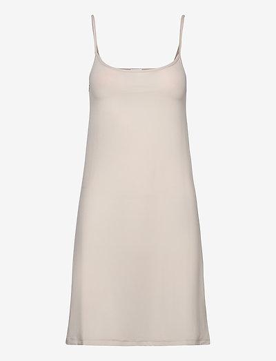 Tech Slip Dress - midi dresses - bisque
