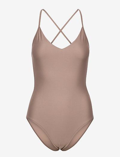 Shiny Cross Back Swimsuit - baddräkter - nougat bro