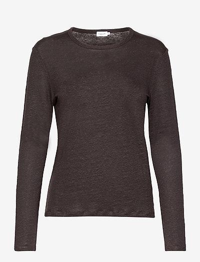 Lily Linen Top - pitkähihaiset t-paidat - dark mole