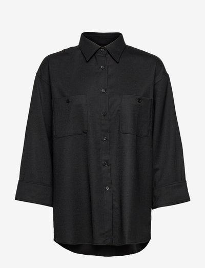 Sandie Flannel Shirt - langærmede skjorter - black