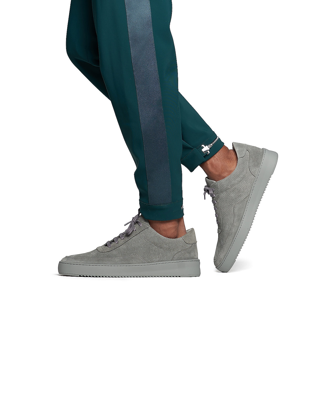 Filling Pieces - Low Mondo Ripple Suede Perforated - låga sneakers - cement grey - 0