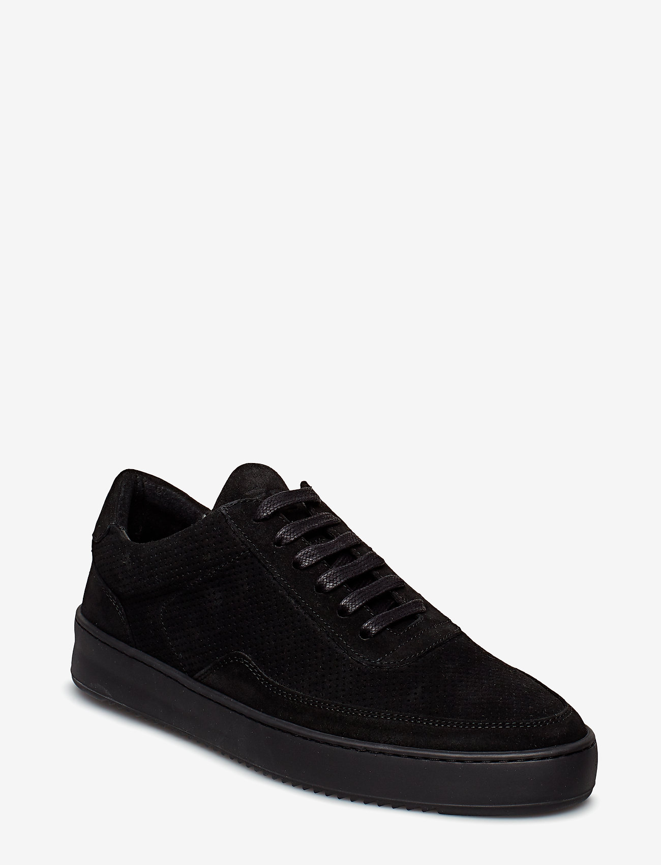 Filling Pieces - Low Mondo Ripple Suede Perforated - low tops - all black - 1