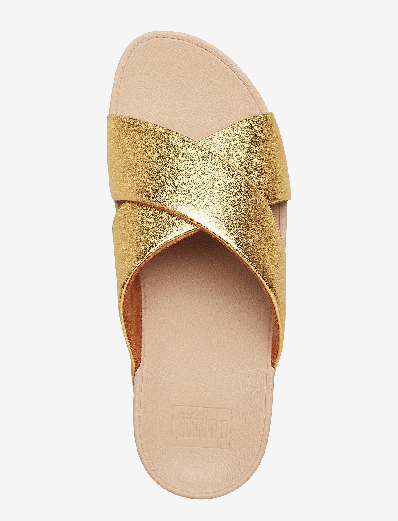 Lulu Cross Slide Sandals - Leather (Artisan Gold) - FitFlop