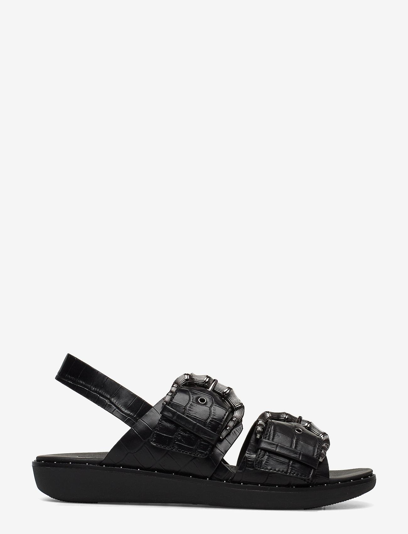Kaia Croc Print Back-strap Sandals (Black) - FitFlop