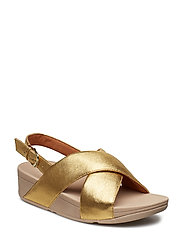 LULU CROSS BACK-STRAP SANDALS - LEATHER - ARTISAN GOLD