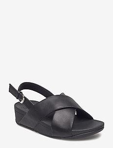 LULU CROSS BACK-STRAP SANDALS - LEATHER - płaskie sandały - black