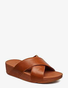 LULU CROSS SLIDE SANDALS - LEATHER - CARAMEL
