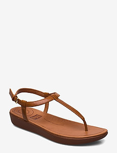 TIA TOE-THONG SANDALS - LEATHER - CARAMEL