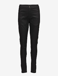 Jolie 274 Black Coated - straight leg trousers - black coated