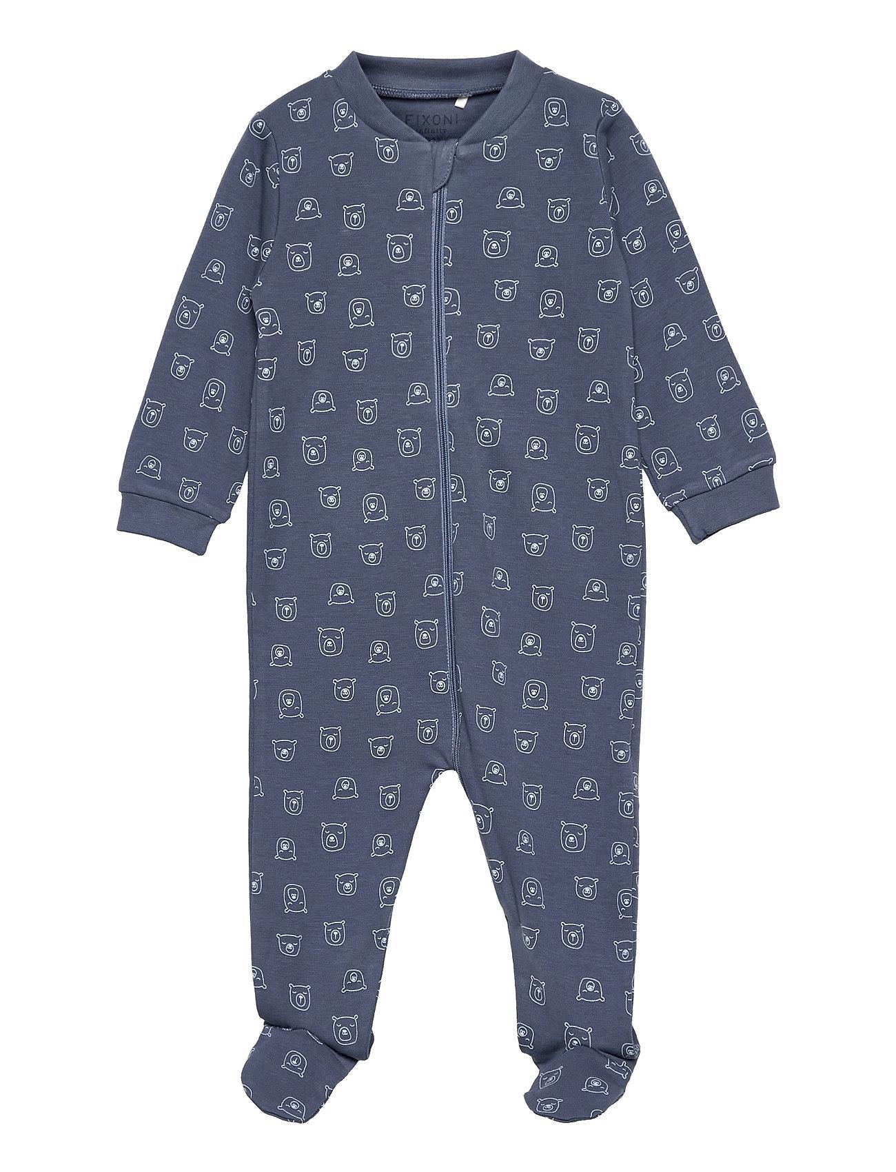 Nightsuit W.Zipper & Foot Pyjamas Sie Jumpsuit Blå Fixoni