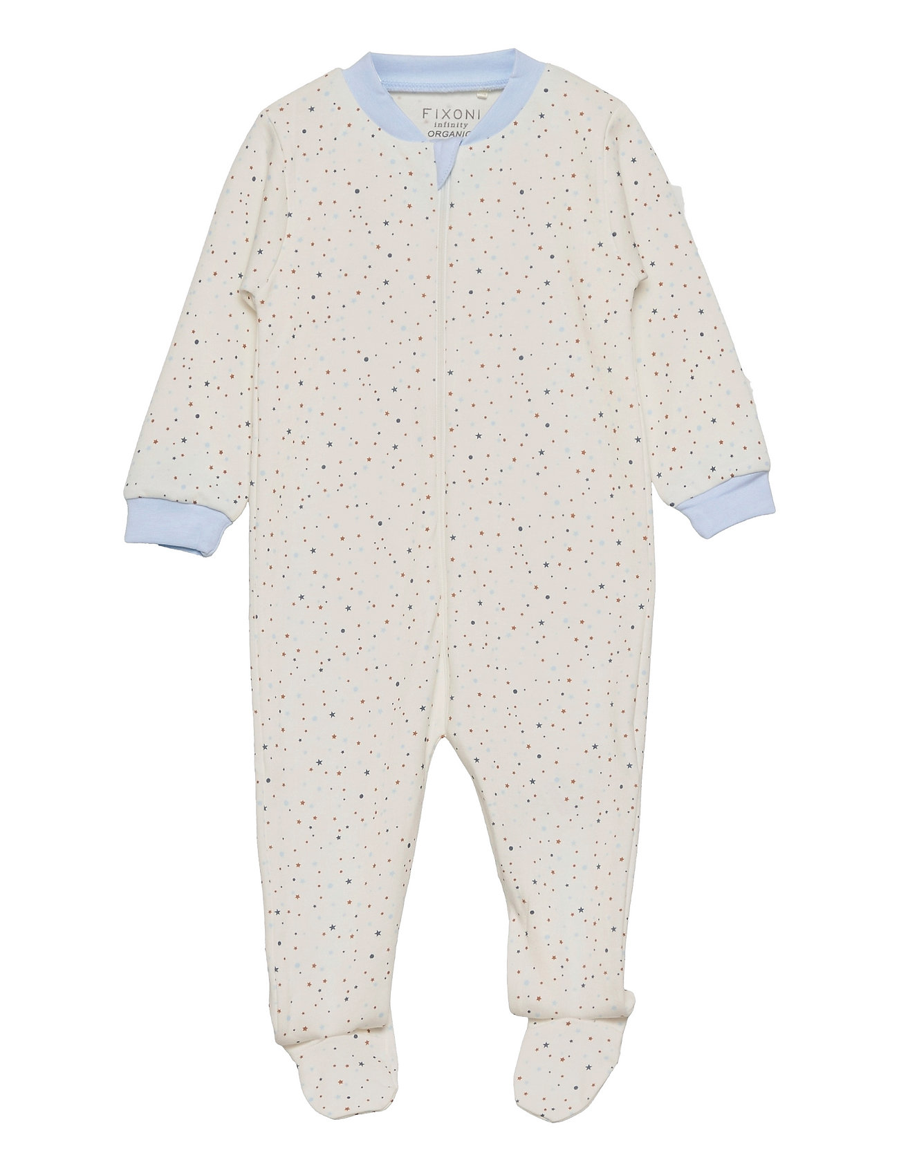Nightsuit W.Zipper & Foot Pyjamas Sie Jumpsuit Hvid Fixoni