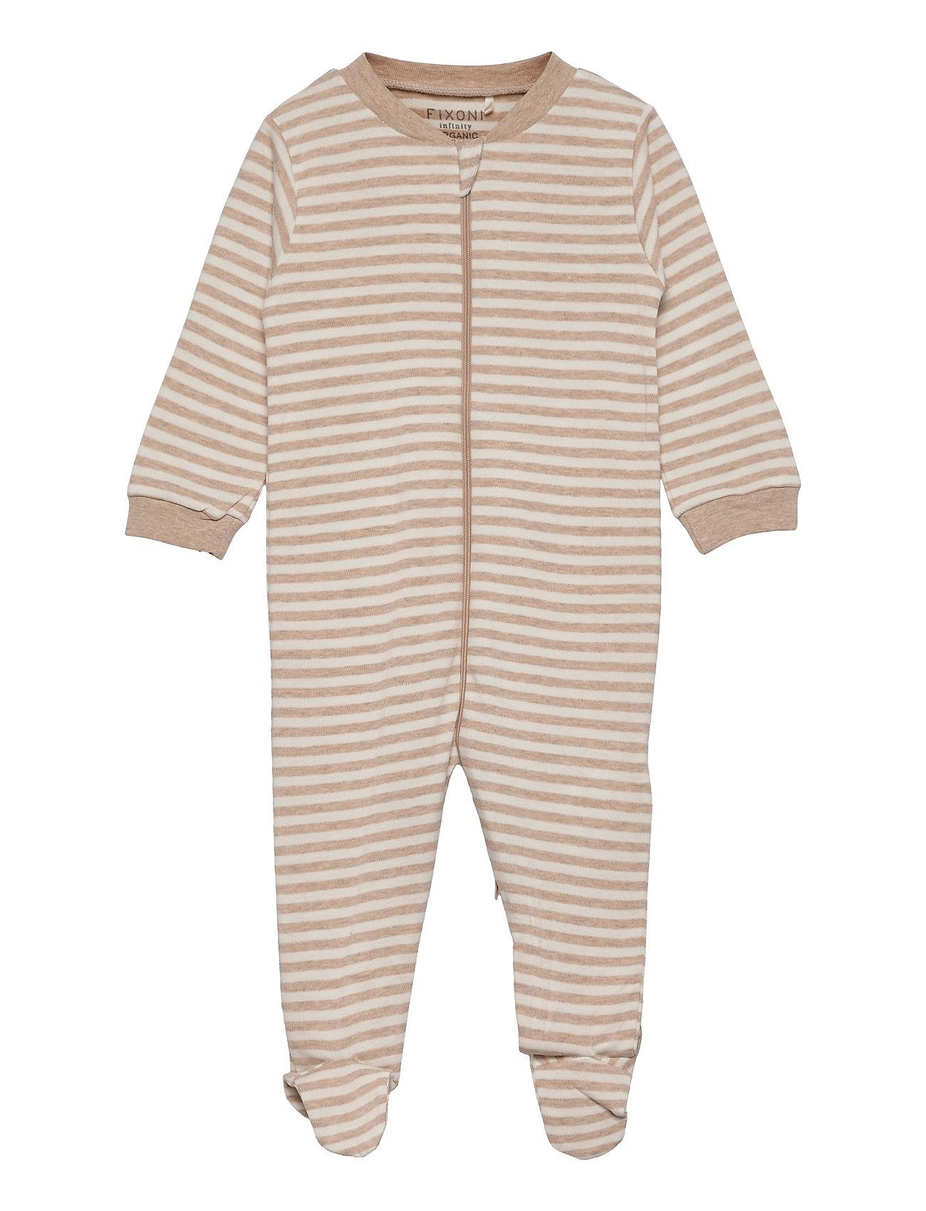 Nightsuit W.Zipper & Foot Pyjamas Sie Jumpsuit Beige Fixoni