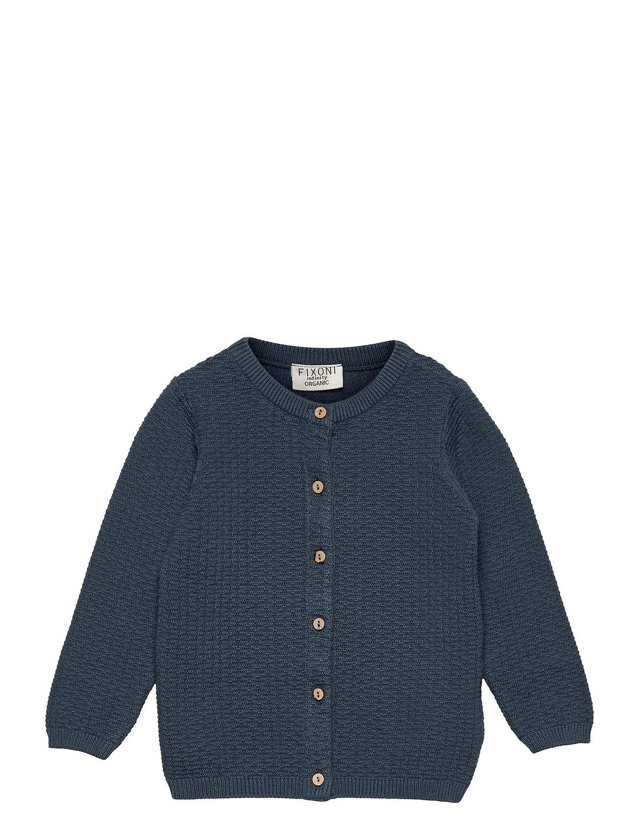 Knitted Cardigan Strikket Trøje Cardigan Blå Fixoni