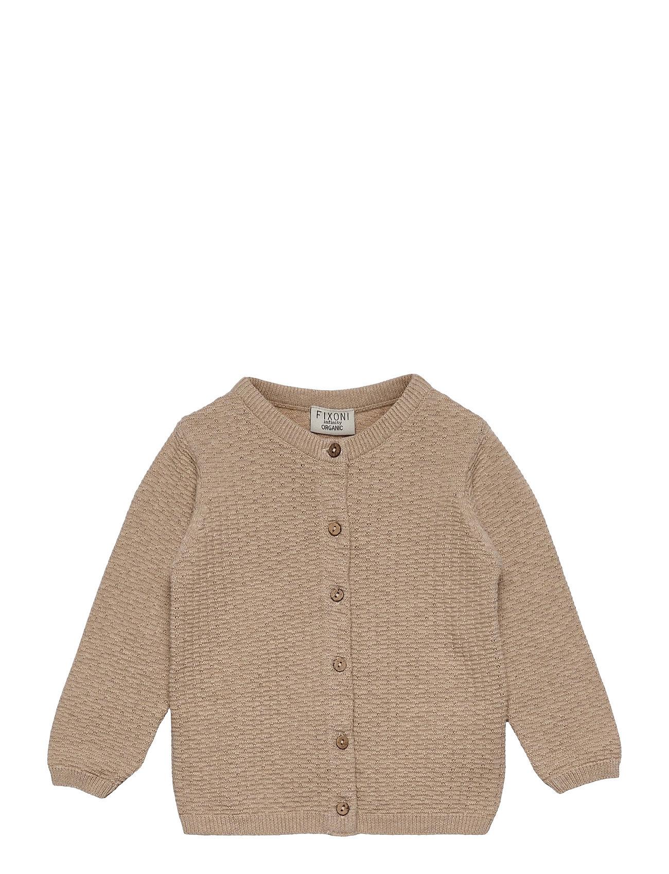 Knitted Cardigan Strikket Trøje Cardigan Beige Fixoni