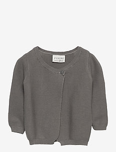 Born Knit LS Cardigan -GOTS - GREY MELANGE