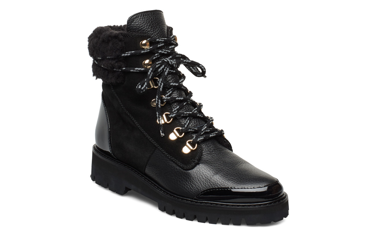 Flattered Selma Patent Nappa / Suede / Grained Nappa Boot - BLACK