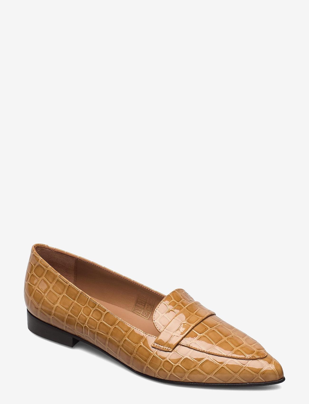 Flattered - Alexandra Shiny Beige Croco Leather - instappers - beige - 0