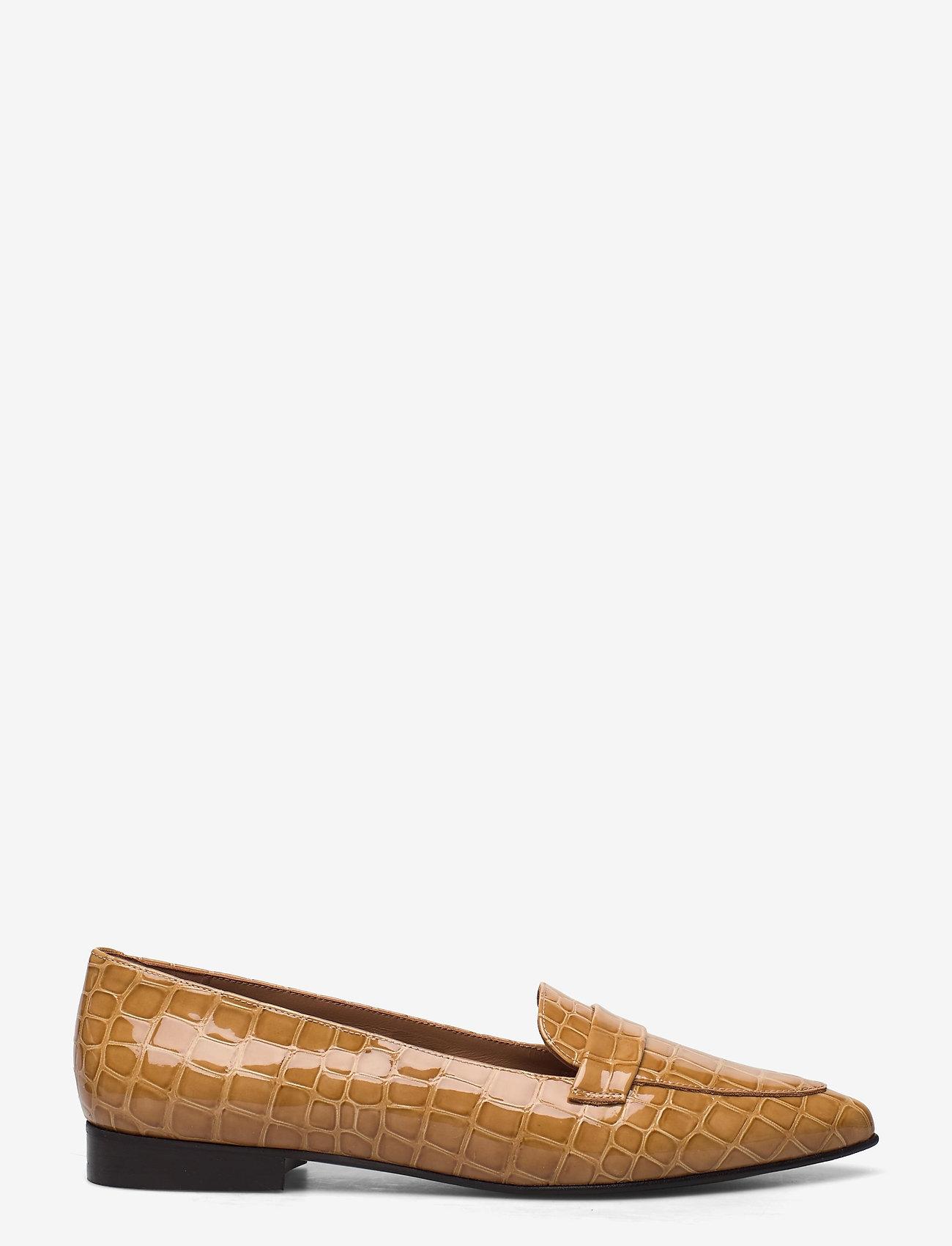 Flattered - Alexandra Shiny Beige Croco Leather - instappers - beige - 1